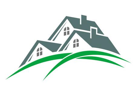 緑豊かな丘陵の上の 3 つの屋根と緑のエコ環境住宅