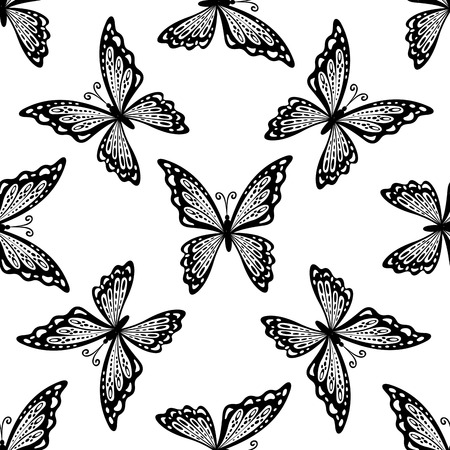 outspread: Seamless pattern of delicate black and white butterflies with outspread wings in a random orientation, square format suitable for fabric, tiles or textile design