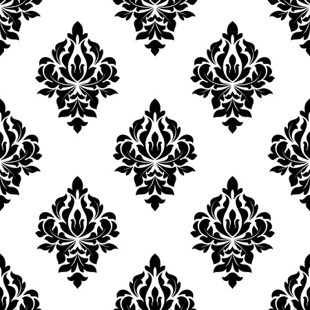 damask pattern: Floral seamless pattern background with black flourish elements