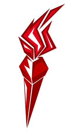 Red stylized torch with burning flames isolateed on white for power, success  or peace concept design Vector