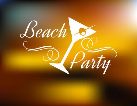 Cartel de la playa del partido con un vaso de cóctel inclinada con una cereza y un texto con remolinos - Beach Party - sobre un fondo con una festiva borrosa brillo dorado