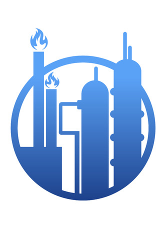 petrochemical plant: Industry icon showing a factory or petrochemical refinery plant with chimneys belching smoke and flames and stylised storage tanks in a circular frame