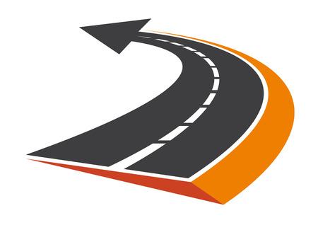 curves: Estilizada carretera asfaltada curva con un puntero de flecha y perspectiva de disminución de punto de fuga Vectores