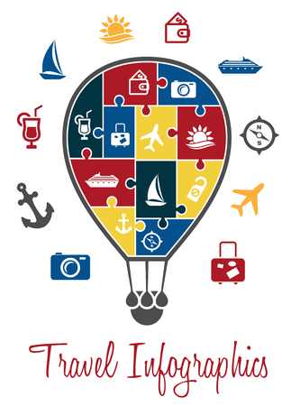 Travel infographics with a hot air balloon with the envelope decorated with intergrated travel icons which also surround the balloon Vector