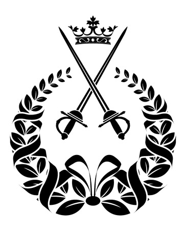 Royal laurel wreath with long knight swords and ribbons isolated on white for heraldry design Vector