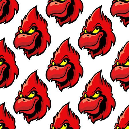 Cardinal bird seamless pattern background in cartoon style Vector