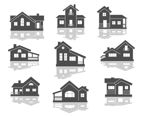 House icons set in grey and white with reflections for real estate design Vector