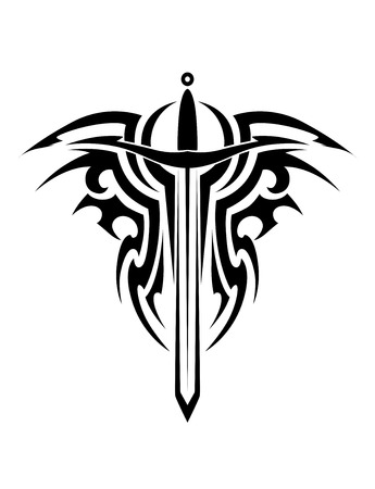 crest: Tribal tattoo design with medieval sword isolated on white