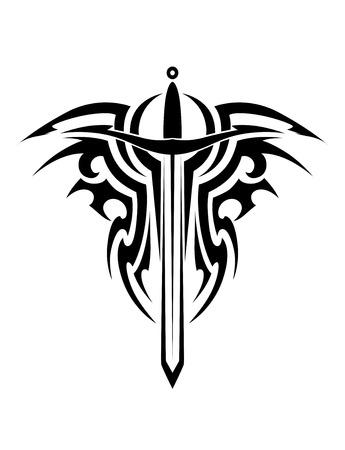Tribal tattoo ontwerp met middeleeuws zwaard op wit wordt geïsoleerd