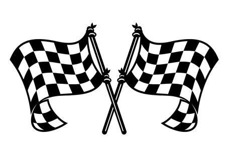 flagpoles: Black and white checkered motor sports flags curling in the breeze with crossed flagpoles