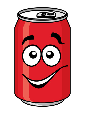 cola canette: Soude rouge de bande dessinée ou de boissons gazeuses peuvent avec un visage souriant isolé sur fond blanc pour la conception de la restauration rapide Illustration