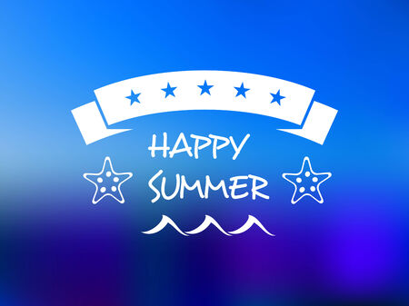 Happy summer five star banner with a ribbon banner containing the stars over the text on a graduated blue background Vector