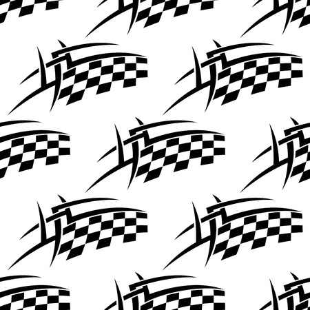 Stylized seamless pattern of a black and white checkered motor sports flag in square format for racing sport design Vector