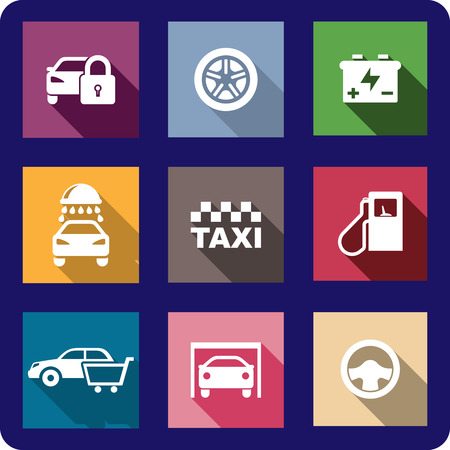 Collection of flat transport or automotive icons with cars, locking, wheel, battery, car wash, taxi, fuel pump, shopping, garage and a steering wheel Vector