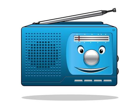 portable radio: Feliz radio port�til azul retro transistor con una cara a�rea y sonriendo aislados en blanco Vectores