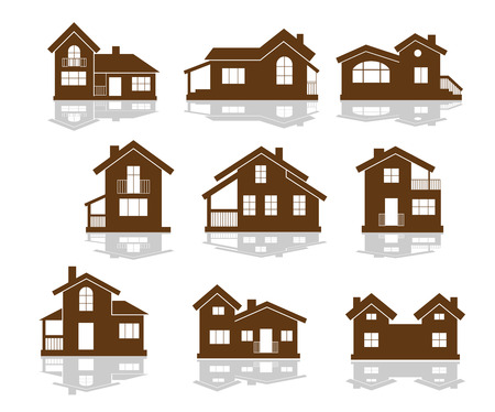 Set of apartment house icons in brown and white showing different styles of building in silhouette Vector