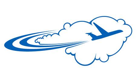 trajectoire: Silhouette stylis�e d'un avion volant � travers les nuages ??sur un Voyage de l'air de la trajectoire courbe repr�sentant