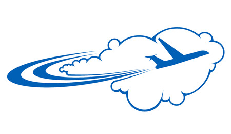 Stylized silhouette of an airplane flying through clouds on a curved trajectory depicting air travel
