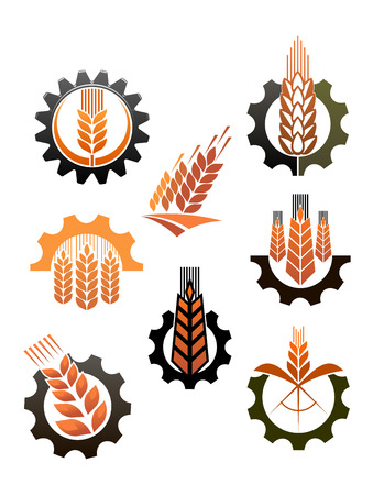 toothed: Set of eight different icons depicting industry and agriculture with ripe golden ears of wheat and toothed cogs or ear wheels