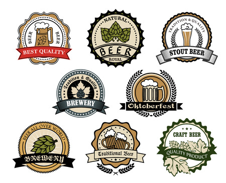 Brewery and beer labels  set depicting tankards of beer and hops in circular frames with ribbon banners and text