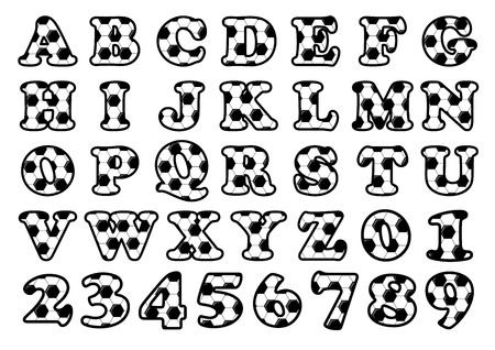 soccer balls: Soccer pattern alphabet and numbers set of uppercase letters for typographical design elements Illustration
