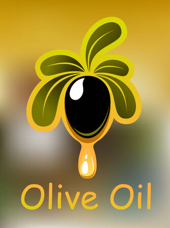 Olive oil poster or card design with a single ripe black olive on a leafy twig dripping golden oil and the text for vegetarian food design Vector