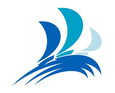regatta: Three colorful yachts on blue ocean waves for regatta sports design