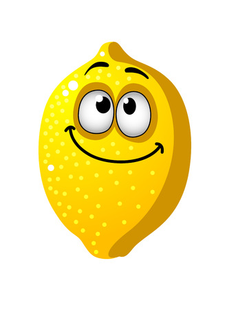squinting: Fun goofy looking yellow cartoon lemon fruit with a happy smile and squinting eyes