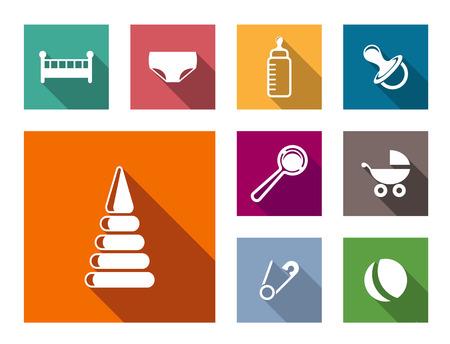 sonaja: Conjunto de coloridos iconos de bebé planas con un alfiler cuna, pañal, chupete, chupete, sonajero, cochecito de niño pelota, la botella y la seguridad