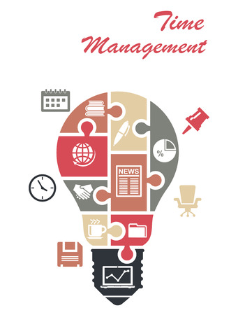 Time management infographics concept with a light bulb composed of interlocking puzzle pieces with various office icons on them and text above