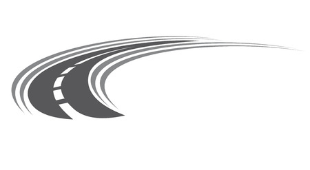 v�locit�: Courber route goudronn�e ou autoroute ic�ne avec des marques de centre avec diminution de la perspective � l'infini, illustration de bande dessin�e isol� sur blanc