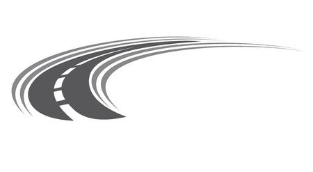carretera: Curva asfaltada icono de la carretera o autopista con marcas de centro, con disminuci�n de la perspectiva hasta el infinito, ilustraci�n de dibujos animados aislado en blanco