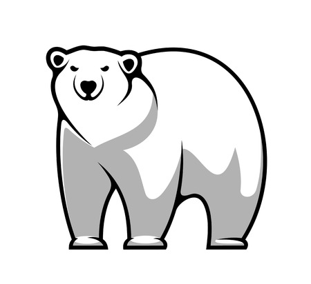 Large grey and white cartoon polar bear isolated on white for mascot or tattoo design Vector