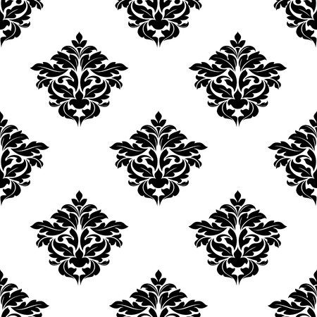 arabesque wallpaper: Black and white foliate motif in a seamless pattern suitable for damask style arabesque wallpaper or fabric design