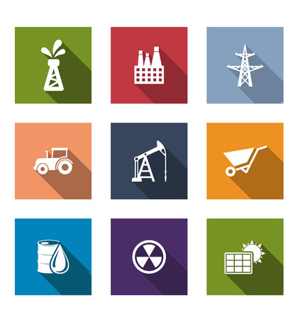 radioactivity: Flat energy and industrial icons set with oil, factory, electricity pylon, tractor, mining, drilling, wheelbarrow, crude oil, radioactivity and a solar panel isolated on white