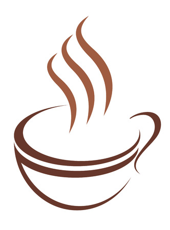 Doodle sketch cup of steaming hot beverage, either tea, coffee or chocolate, in brown and white Vector