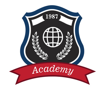 academy: Academy emblem with a shield enclosing the date, a globe and a foliate wreath above a red ribbon with the text - Academy