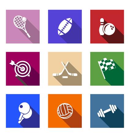 Set van platte sportieve iconen op kleurrijke web knoppen beeltenis tennis, voetbal, bowling, boogschieten, hockey, autosport, tafeltennis, volleybal en halter