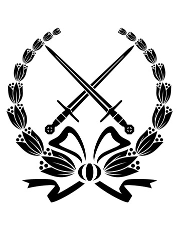 crossed swords: Black and white floral wreath with crossed swords and a swirling ribbon for heraldry design Illustration