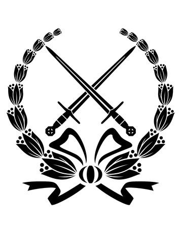 crossed swords: Blanco y negro ofrenda floral con las espadas cruzadas y una cinta que remolina para el dise�o de la her�ldica