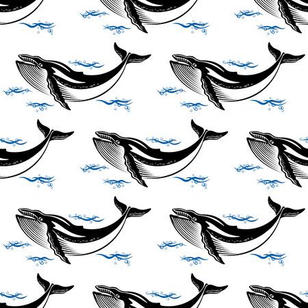 baleen whale: Ballena nadando sin patr�n, con una ballena entre las olas del mar en formato cuadrado para fondos de escritorio de tem�tica n�utica o dise�o de la tela Vectores