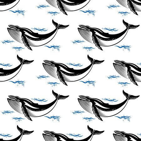 Swimming whale seamless pattern with a baleen whale amongst ocean waves in square format for nautical themed wallpaper or fabric design Vector
