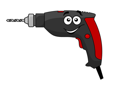 hand held: Cartoon hand held electric power drill tool with a bit in the chuck and happy smiling face