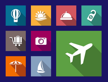 Set of flat, travel and vacation icons on colorful web buttons with an airplane, hot air balloon, sun, food dome, hotel do not disturb sign, luggage trolley, camera, umbrella and yacht Vector