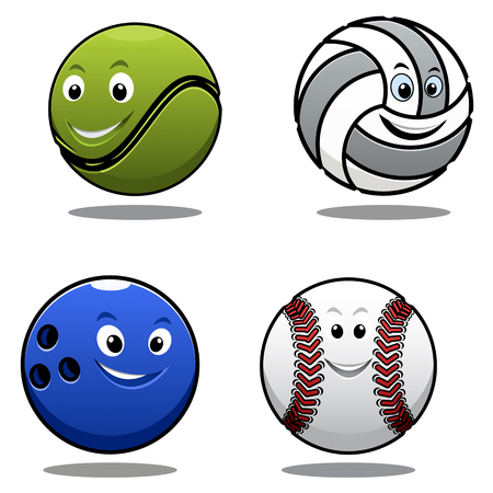 volley ball: Set of four cartoon sports balls including a tennis ball, volley ball, cricket ball and bowls with smiling happy faces