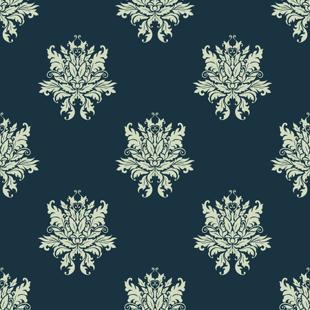 Ornate floral damask style seamless pattern with arabesque motifs on a blue background suitable for fabric, textile and wallpaper design Vector