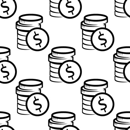 Dollar coin, cash, money seamless pattern with a black and white doodle sketch of a stack of coins in square format Vector