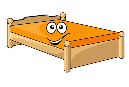 Comfortable cartoon bed with a colorful orange mattress with a happy smiling face isolated on white Vector