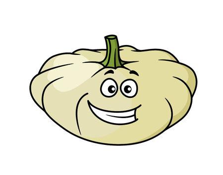calabaza caricatura: Calabaza de dibujos animados feliz y squash verduras con una amplia sonrisa llena de dientes aislados en blanco