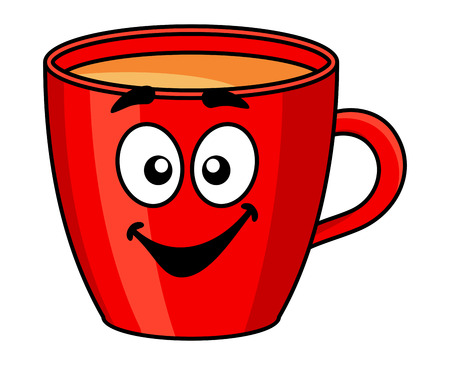 refreshments: Colorful red cartoon mug of coffee with a happy smile isolated on white